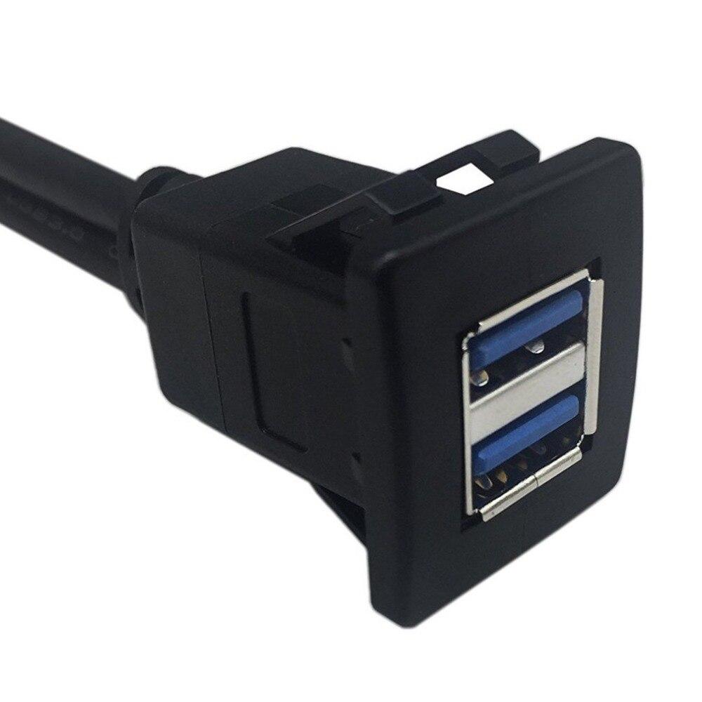 Noir 1m USB 3.0 Socket Cable Auto Voiture Flush Mount Male /à Femelle Rallonge Tableau de Bord Panneau Ligne Audio Carr/ée pour Moto