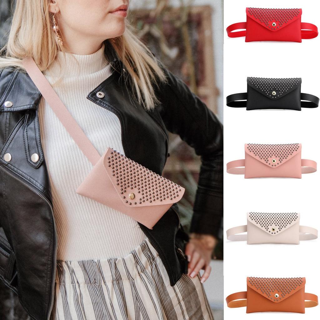 Fashion Women Ladies Belt Bag Rivet Chest Letter Printed Bags Sport Pouch LA