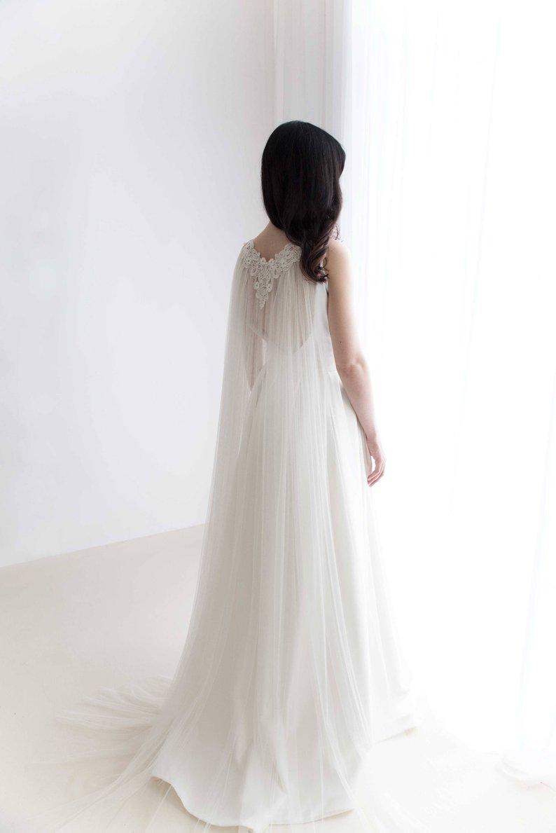 Bridal Cape Veil  - Wedding Cape -Tulle Cape Veil - Lace Cape Veil