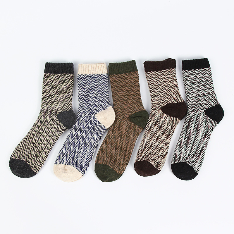 Winter Thickened Warm Striped Wool   Socks   Water Ripple Retro Casual Men   Socks   Business   Socks   Mens Winter Trends