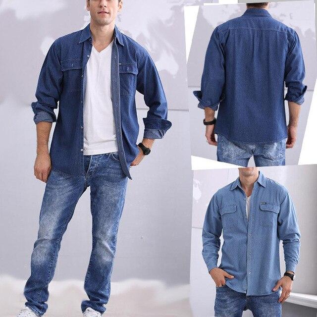 50e4f37e2ff4d Jeans para hombre Camisas Casual moda 2016 algodón marca ropa lavado Denim  bolsillo ropa masculina manga