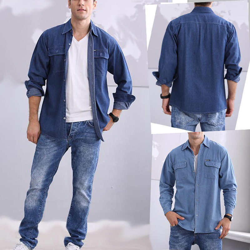 0e89435c5a Mens Jeans Shirts Casual Fashion 2016 Cotton Brand Clothing Washed Denim  Clothes Pocket Male Long Sleeve For Man Wear