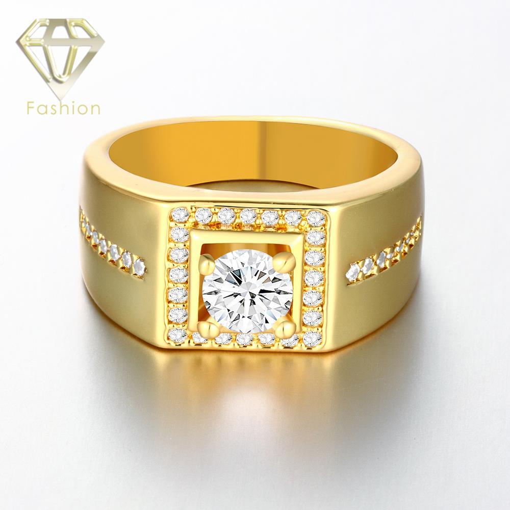 Gold Rose Gold White Gold Color Men Ring Square Shaped