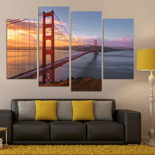 4 piece canvas wall art acrylic new piecessets canvas art panels golden gate bridge hd paintings decorations