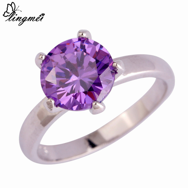 lingmei Wholesale Fashion Dazzling White Purple Multicolor Pink CZ  Silver Color Ring Full Size Engagement Wedding Bridal Rings