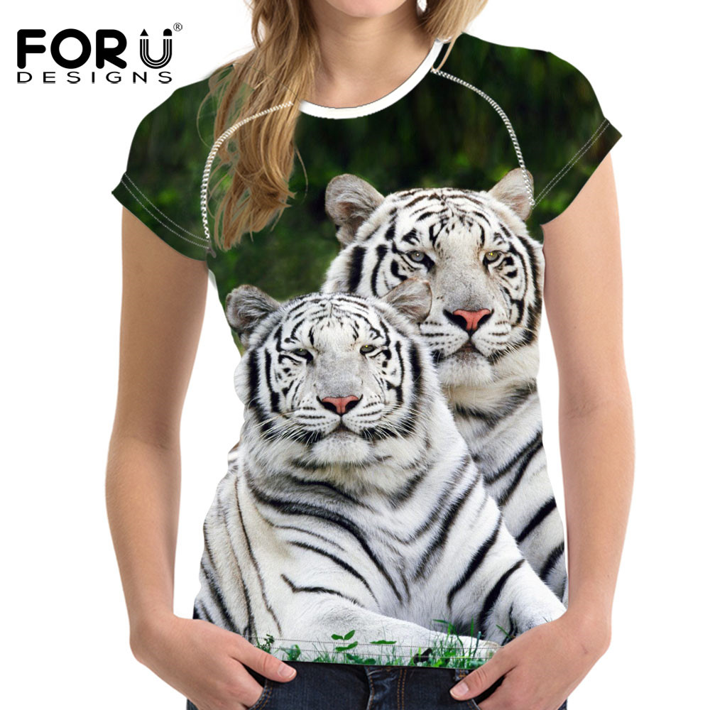FORUDESIGNS 3D White Tiger Women T-shirt Crop Top For Women T-shirt - Կանացի հագուստ - Լուսանկար 1