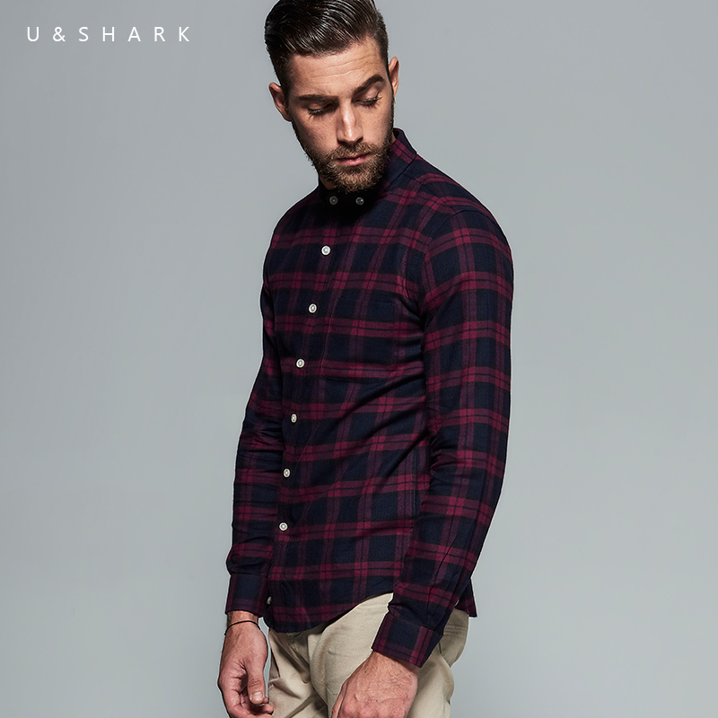 High Quality Long Sleeve Red Flannel Plaid Shirt Brand Men Blouse Urban Clothes 2016 New ...