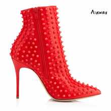 Aiyoway Sexy Women Ladies Pointed Toe High Heel Ankle Boots Rivets Shaft Size UP Autumn Winter Party Dress Booties Red Black aiyoway fashion women ladies round toe low heel lace up over kne boots warm winter party dress shoes black russia size 36 40