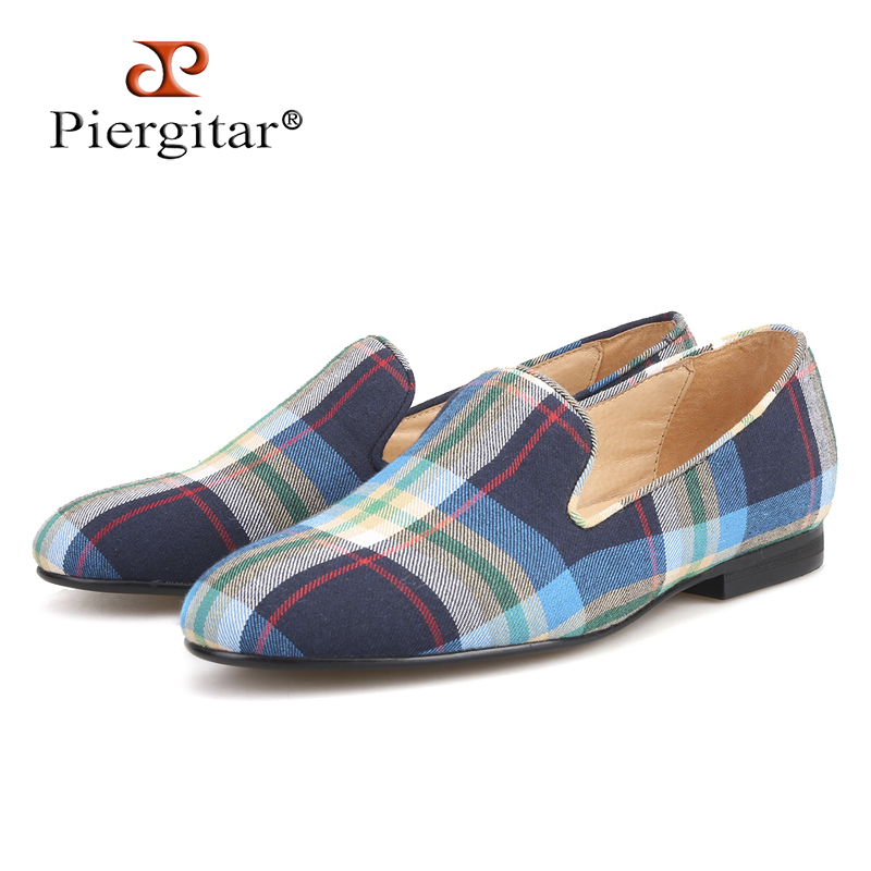 Piergitar 2018 new arrival Couple models handmade women canvas shoes  fashion party and wedding women s loafers female flats 482342cec359