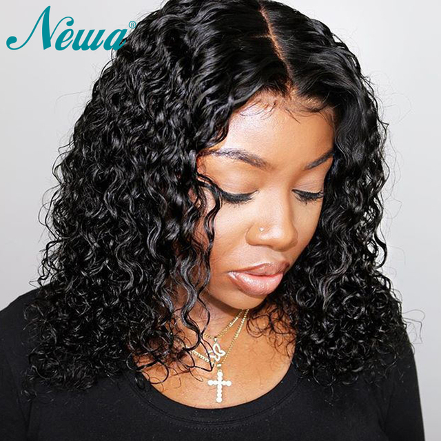 Pelucas de pelo humano con encaje frontal NYUWA 13x6 con pelo de bebé pelucas de pelo humano rizado corto peluca Frontal de pelo Remy brasileño