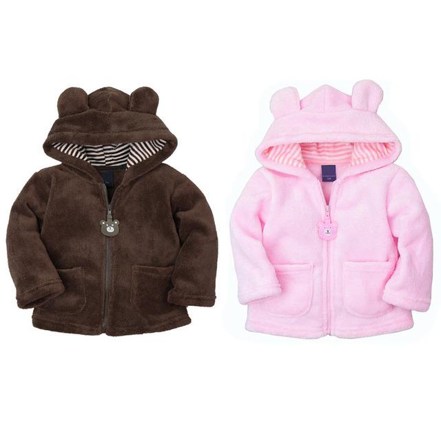 XJ-2, jaqueta sherpa bebê, velo coral macio, dos desenhos animados manga comprida com capuz outwear, 5 cores.