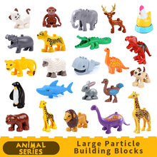 Zoo Animals Model DIY Big Particles Bricks accessory Toys Cute animal Elephant giraffe tiger Compatible DUPLOES toy  playmobill cute giraffe style foam particles filler doll toy yellow
