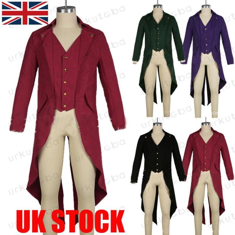 UK Men Retro Swallow-tailed Coat Tuxedo Banquet Stage Tail Coat Overcoat Suit Blazers