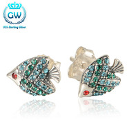 925 Sterling Silver Fish Stud Earrings With Green Cz Fashion Earrings For Women 2016 Valentine'S Day Gifts Brand GW Er1023