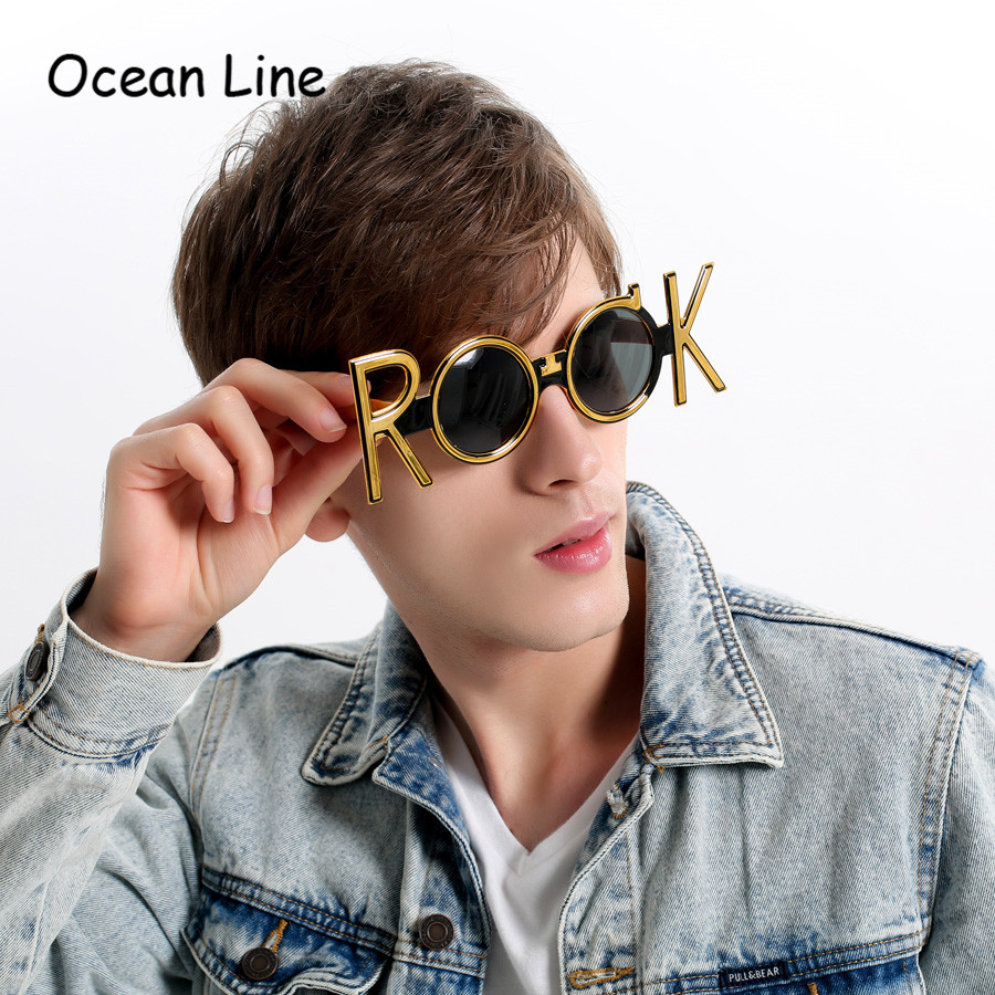 Gold Rock Costume Glasses Novelty Sunglasses Night Party Favors Concert Celebration Eyewear Props Party Supplies Decoration Gift