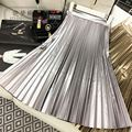 Butterfly 2016 Autumn And Winter Space Feel Gold Silver PU Expansion Pleated Skirt Women Elegant Vintage Knee-length Skirts