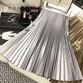 Mariposa 2016 otoño y el invierno espacio parezca oro plata pu expansión plisada falda de las mujeres elegantes vintage rodilla-longitud faldas