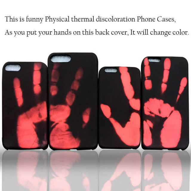 2017 New Case for iPhone 7 Plus Changing Thermal Sensor Fluorescent Cover for iPhone 6s Heat Induction Noctilucent Back Cases