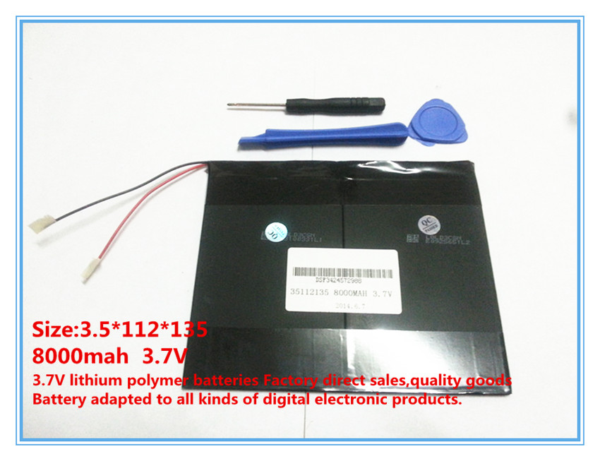 <font><b>3.7V</b></font>,<font><b>8000mAh</b></font>,polymer lithium ion /Li-ion battery for tablet pc,MID,PDA,DIY for Sanei N10 Ampe A10 Quad Core,HKC T90 Dual Core image