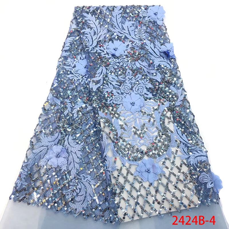 Latest African Lace Fabric High Quality Net Lace Fabric with Sequins French Mesh Lace Sequence Fabric for Evening Dress APW2424B