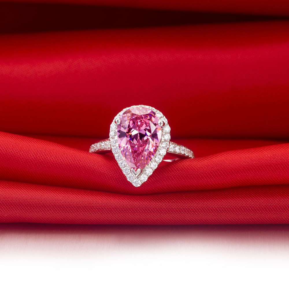Genuine 14k White Gold Jewelry Gorgeous Ring Drop Shape 3ct Diamond Pear  Pink Jewelry Ring Engagement