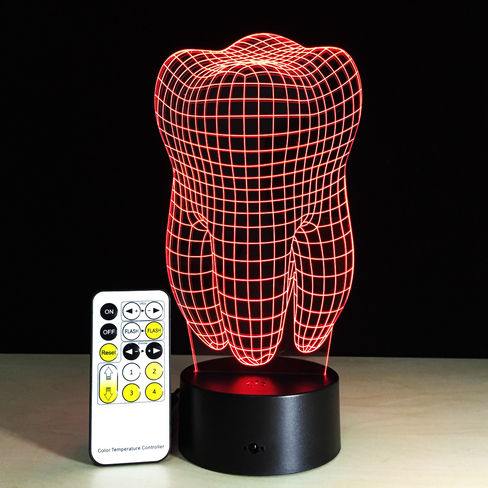 Free Shipping 1Piece tooth Skull Multi-colored Bulbing Light Acrylic 3D tooth Desk Lamp