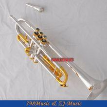 Профессиональная позолоченная труба из серебристого золота Monel B-плоский черный чехол для ключа с чехлом