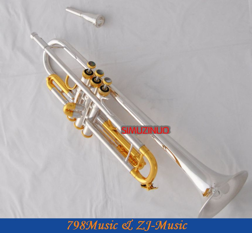 Professzionális ezüst aranyozott trombita Monel B-lapos fekete héj - Hangszerek - Fénykép 1