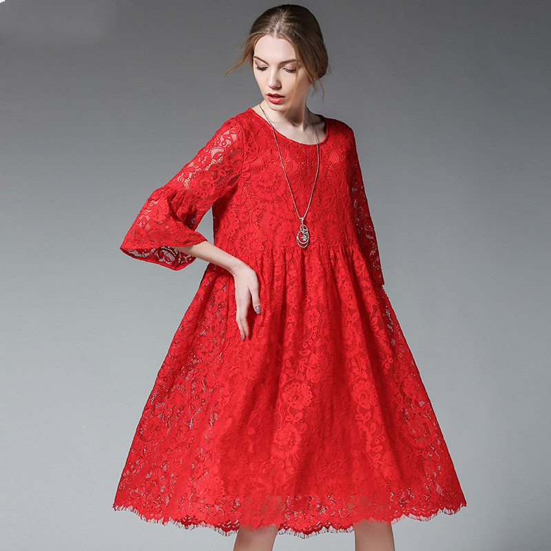 For Age 25-35T Woman Pregnant Clothing Black/Red Lace Pregnancy Clothes Fashion Maternity Dress New High End Maternity Dresses maternity clothes for photo shoots pregnant women dress maternity dresses pregnant clothing pregnancy dress lace 2017 new
