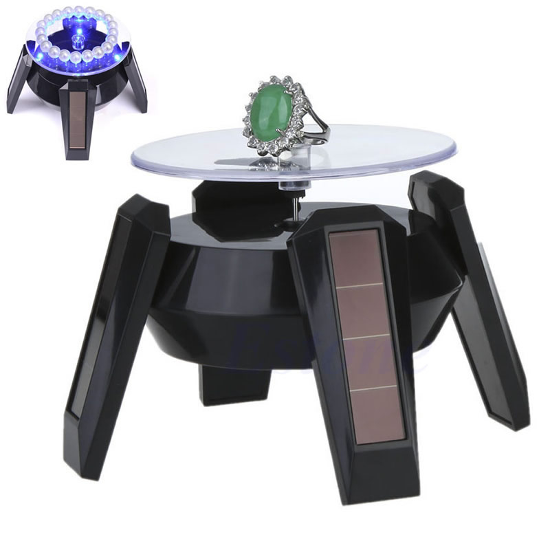 Rotating Solar Powered Mobile <font><b>Phone</b></font> Watch Jewellery Display Stand + LED Light