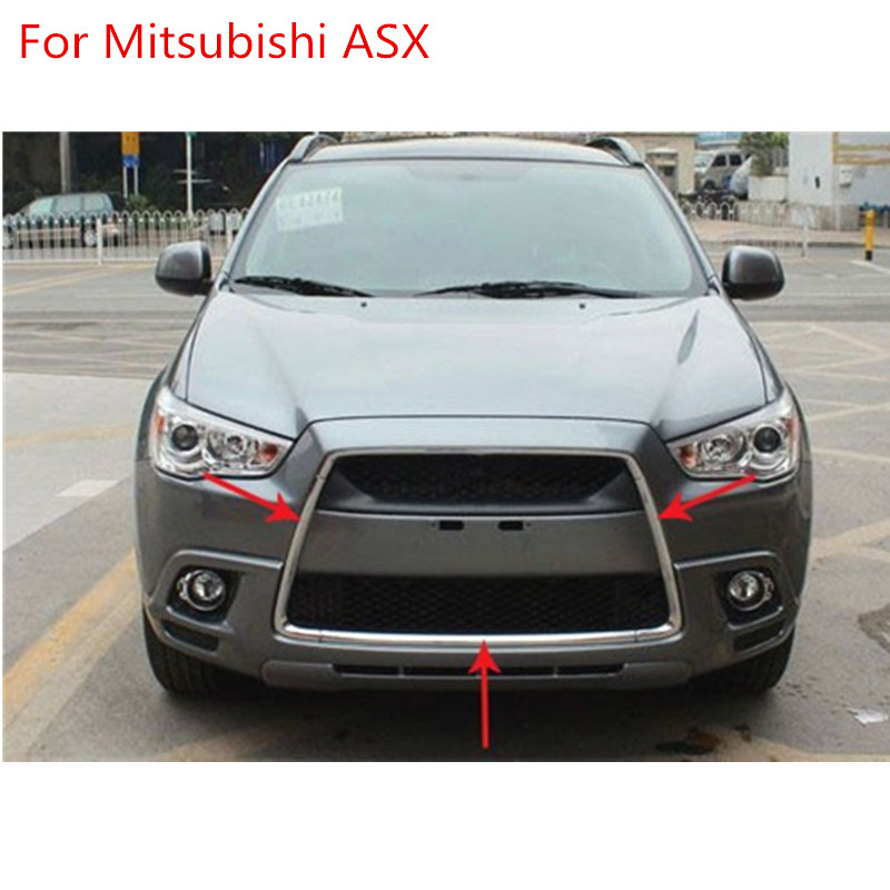 ABS chrome grille trim around Racing grills light bar trim For 2010-2012 Mitsubishi ASX abs chrome front grille around trim racing grills trim for 2010 2011 hyundai santa fe decorative protection