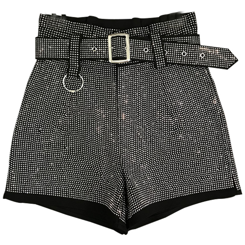 2019 Runway Chic Women Cropped metal stamped crystal embellished blingin rhinestone Sparkle Sequined diamonte Shorts with