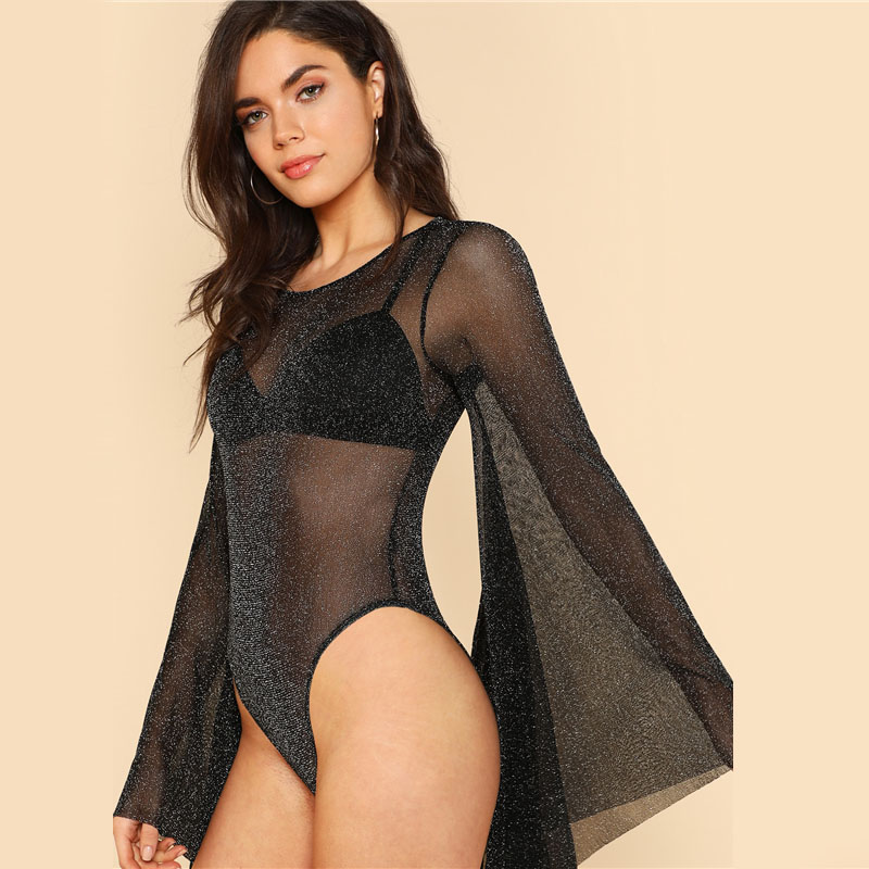 COLROVIE Exaggerated Bell Sleeve Glitter Mesh Bodysuit Summer Backless Sexy  Bodysuits Black Long Sleeve Skinny Bodysuit 3b00f7c9d