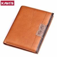 KAVIS New High Quality Men Wallets Vintage Genuine Cowhide Leather Short Purse Luxury Famous Brand Men