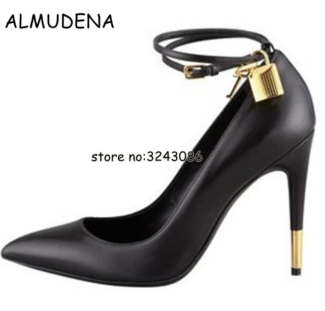 703dba03d3f3 Sexy Pointed Toe Gold Padlock Chain Ankle Strap Ladies High Heels Snakeskin  Ladies Dress Shoes Women Patent Leather Pumps. Anniversary Sale US ...