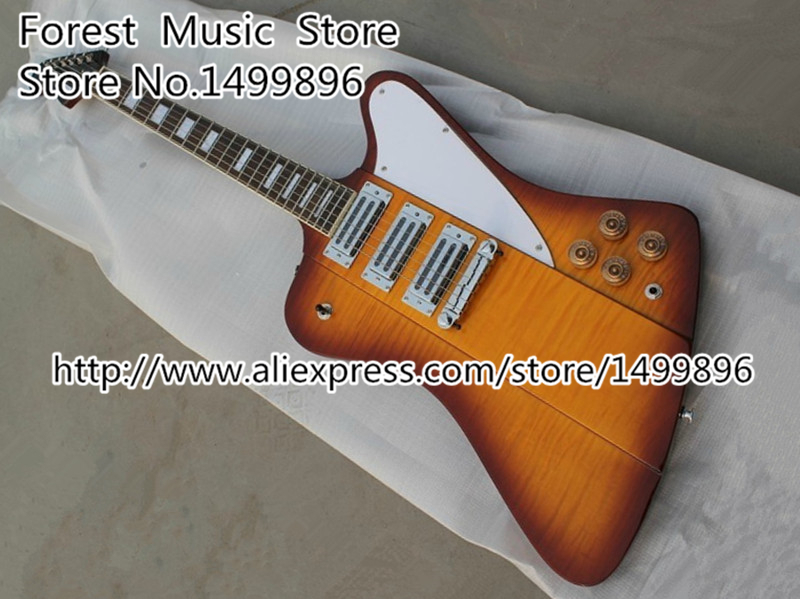 Chinese Musical Instrument Firebird Vintage Sunburst Three Pickups Electric Guitar Custom Lefty Available custom shop chinese musical instrument golden finish lp electric guitar kits lefty custom available