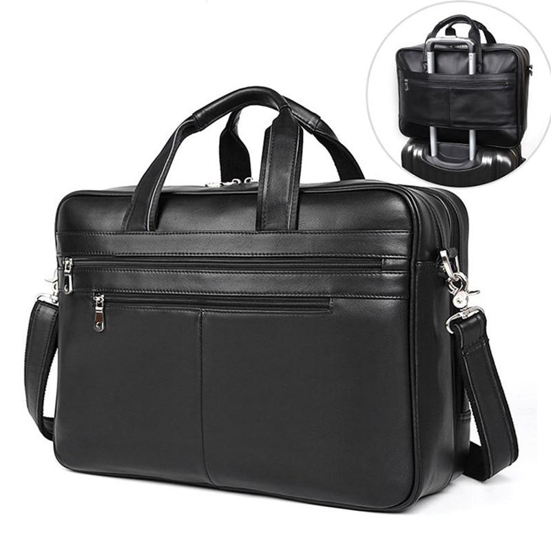 Men Business Briefcase Soft Genuine Leather Man Laptop Handbag Large Multifunctional Cowhide Shoulder Messenge bag For