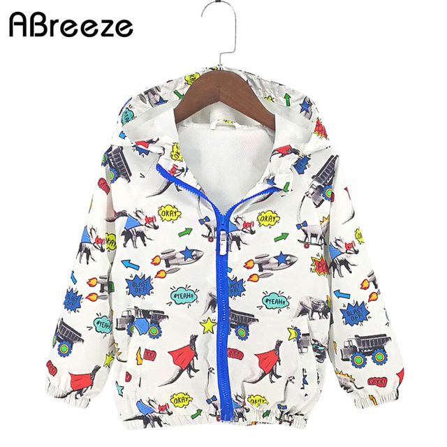 Abreeze 2018 New Summer Autumn children clothing dinosaur style kids outerwear & coats casual 2-8Y hooded jackets for boys CQ10