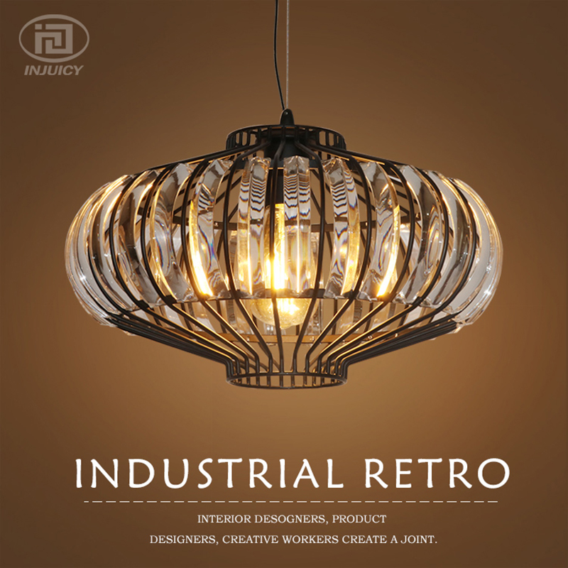 Luxury Vintage Loft K9 Crystals Pendant Lamp Simple Chandelier Cafe Bar Dining Room Store Restaurant Bedroom