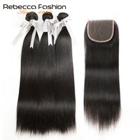 Rebecca Human Hair Bundles With Closure Remy Brazilian Hair Straight 3 Bundles With 4x4 Lace Closure