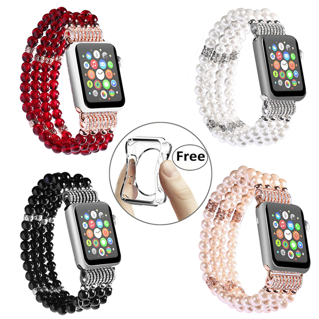 Fashion Handmade Elastic Faux Pearl Beaded Watch Band Case For IPhone Apple Series 3 2