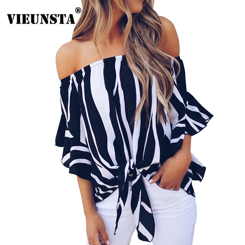 VIEUNSTA Hot Sexy Slash Neck Striped Chiffon Blouse Shirts Off Shoulder Drawstring Elegant Women Tops Flare Sleeve Casual Blouse
