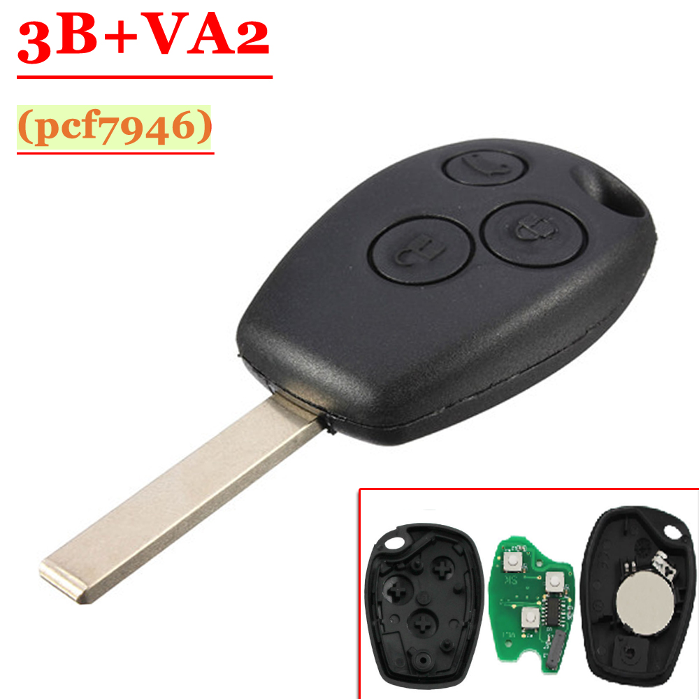 Free shipping 5 pcs Lot 3 Button PCF7946 Chip Remote Control With Va2 Blade For Renault Duster Modus Clio 3 433MHz in Burglar Alarm from Automobiles Motorcycles