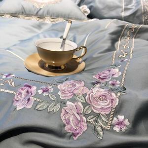 Image 3 - Роскошный комплект постельного белья из египетского хлопка королевского размера с вышивкой, пододеяльники, классический синий розовый комплект постельного белья
