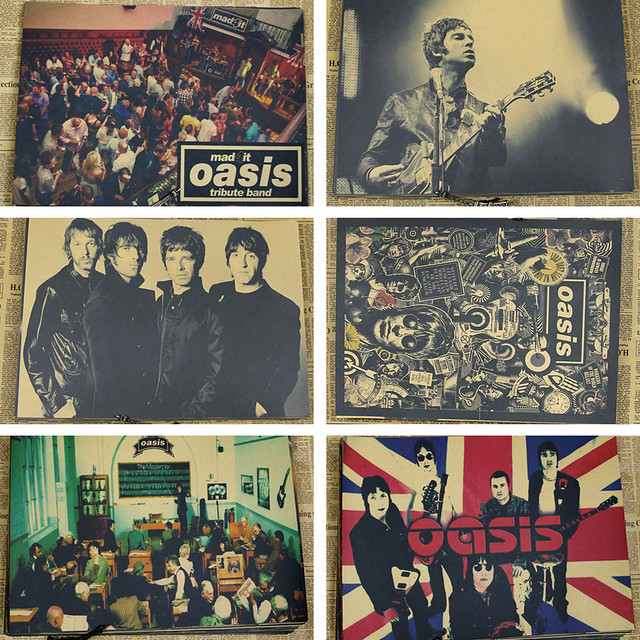 The oasis oasis kraft paper restoring ancient ways british rock band posters bar cafe wall