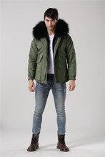 Fashion men black fur inside jacket raccoon fur collar hood army green coats Mr furs jacket