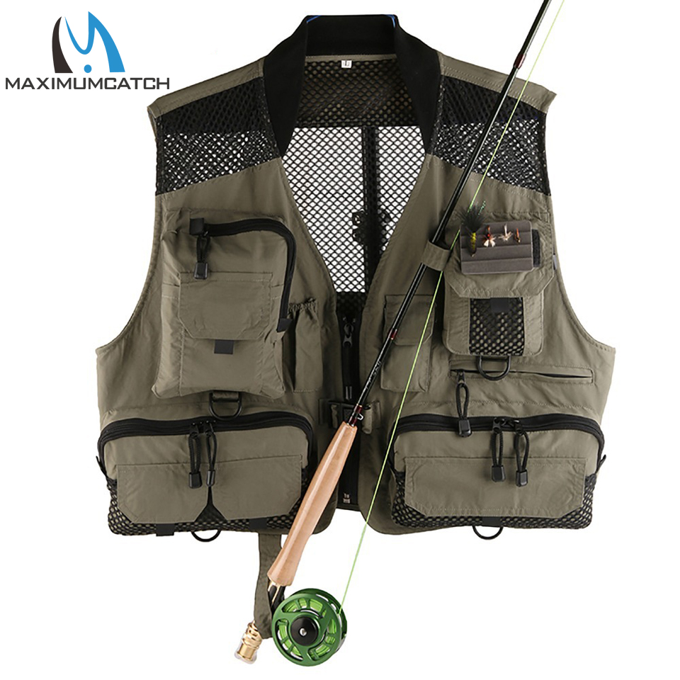 Top quality men 39 s fly fishing vest outdoor mesh multi for Fly fishing vest