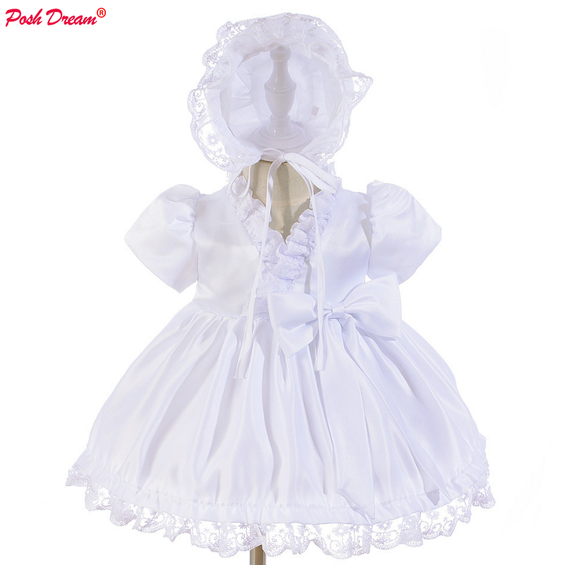 POSH DREAM White Baby Baptism Dress with Hat Princess Wedding Toddler Baby Girls Birthday Party Dresses Baby Girls Clothes