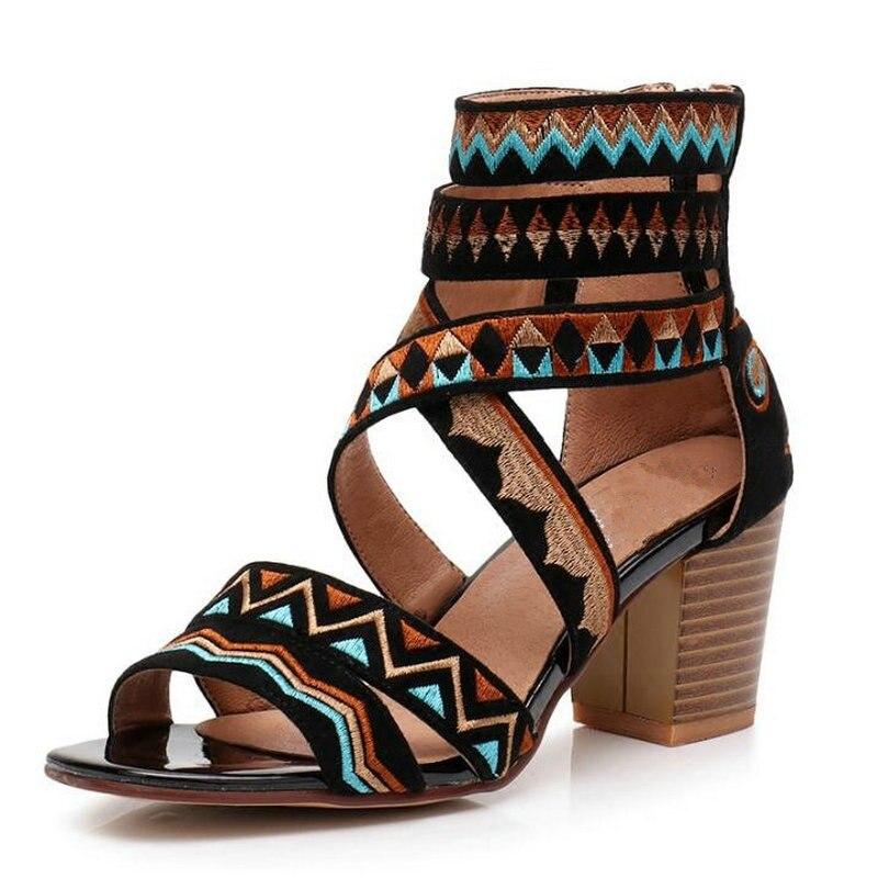 Summer Sandals women 2018 new roman Sandals women Boho retro ethnic style Sandals short Boots cool peep-toe heel Sandals sandals