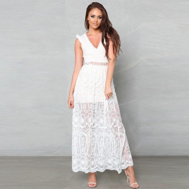 80959c4ff210 Aliexpress.com : Buy Sexy Hollow Out White Lace Dress Women Spring High  Waist Sleeveless Backless Dress Elegant Christmas Maxi Long Dress Vestidos  from ...